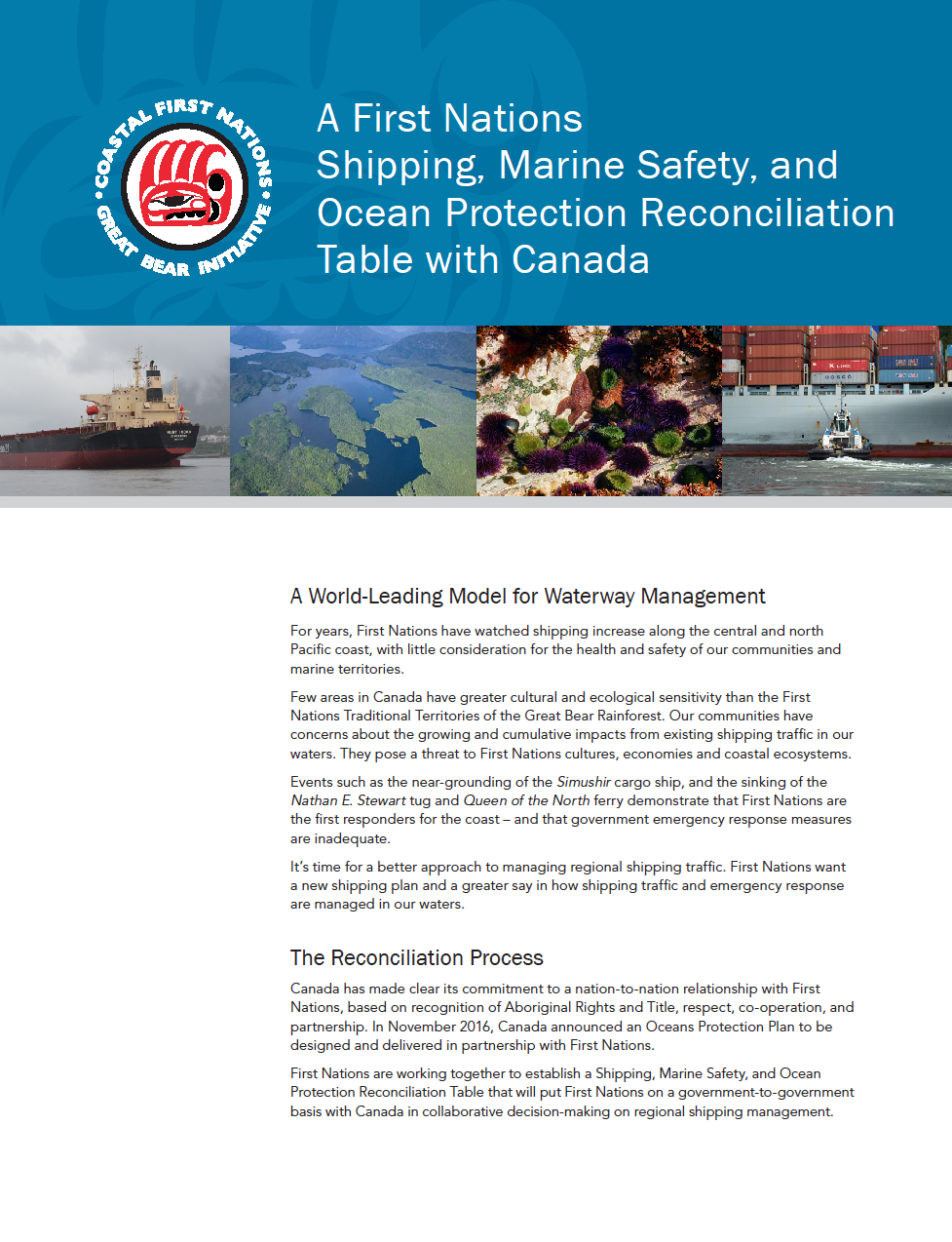 Shipping, Marine Safety, and Ocean Protection Reconciliation Table with Canada